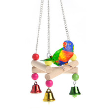 Bird Parrot Hanging Hammock Wooden Bird Ladder Swing Toy Handmade Standing Frame Bed Cave Cage Bridge Hut House Pet Toy noMY29(China)