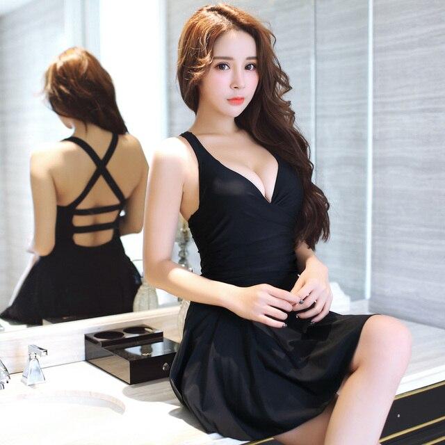 Black dress swim suit