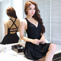 Black Red Sexy Women Push Up Padded One Piece Swimsuit Top Quality Ladies Solid Slim Skirt