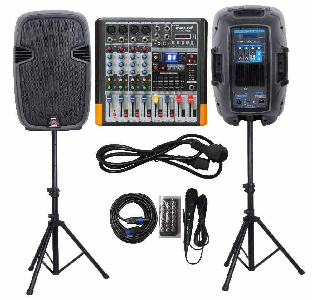 STARAUDIO 1 Set Dual 12″ 2000W Stage Powered Bluetooth PA DJ Speakers W/ 4CH Powered Mixer Wired Mic Stands Cable SSD-12A