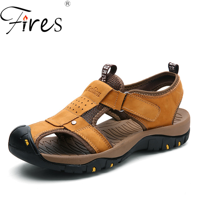 Fires Mans Artificial Leather Sandals Comfortable Outdoor Flat Shoes Big size 38-46 Casual Sandal Breathable Men Leisure Shoes