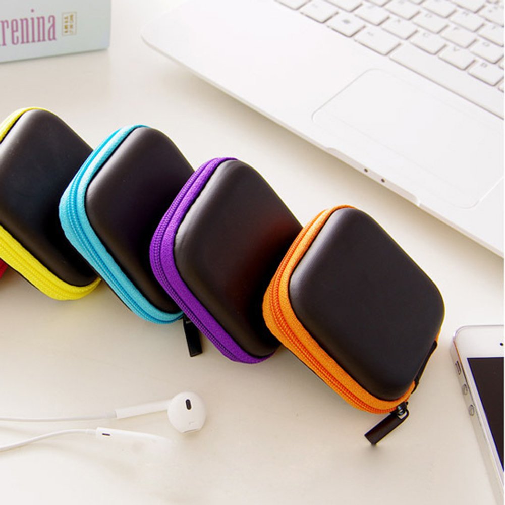 Portable Mini Zipper Hard Headphone Cover PU Leather Earphone Bag Protective USB Cable Organizer Portable Earbuds Pouch box a4 leather discolor manager file folder restaurant menu cover custom portfolio folders office portable pu document report cover