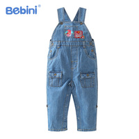 Bebini 2017 spring autumn baby jeans children jumpsuits kids overalls denim suspender trousers kid pant 0 to 3years