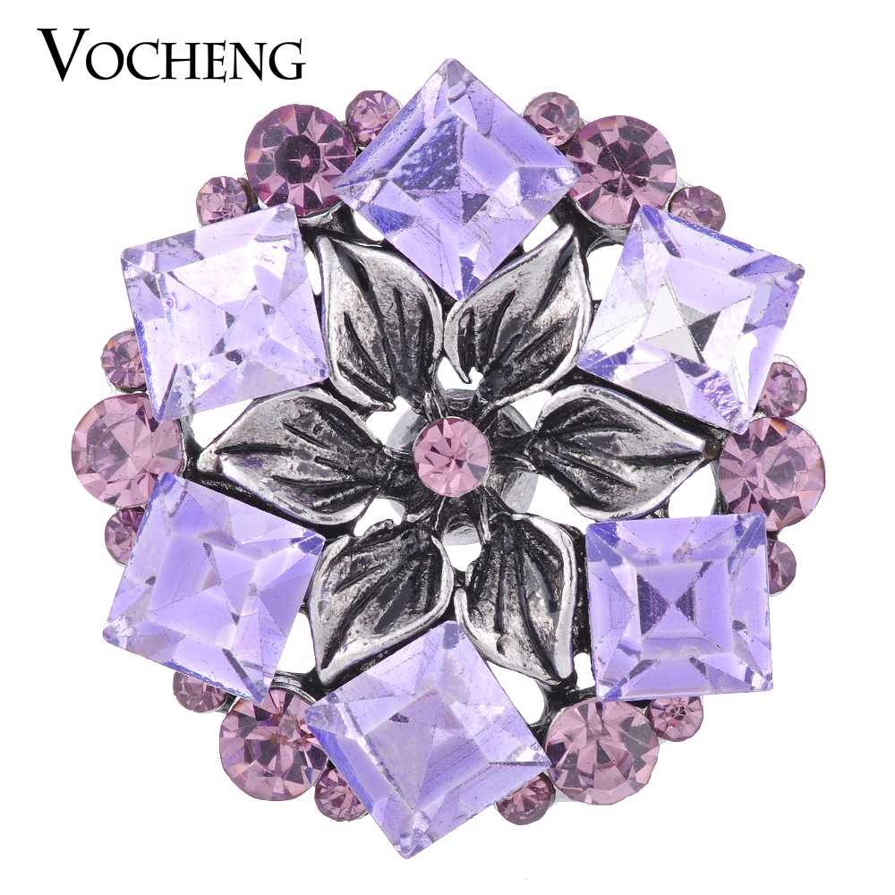 Vocheng Ginger Snap 18mm flor Bling 3 colores de cristal Vn-1080