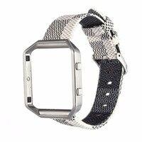 Новая мода Пояса из натуральной кожи iwatch ремешок замена Нержавеющаясталь ремешок + Рамки случае В виде ракушки для fitbit Blaze Бесплатная доста...