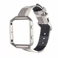 New Fashion Genuine Leather IWatch Strap Replacement Stainless Steel Watchband Frame Case Shell For Fitbit Blaze