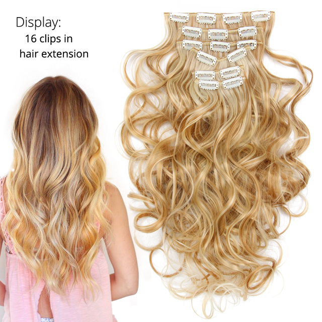 Leeons 22 Inch High Temperature Fiber Curly Synthetic 16 Clips In Hair Extensions For Women Hairpieces Ombre Brown Hair pieces 3