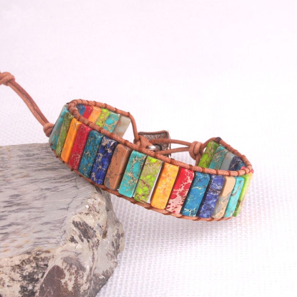 Pedra natural único couro corda wrap pulseira feminina frisado casais pulseira pulsera cuenta cuadrados colores