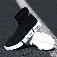 Trend 2019 Running Shoes Men Comfortable Breathable Trainers Mesh Soft Sole Plat High Top Socks Sneakers Male Chaussure Homme