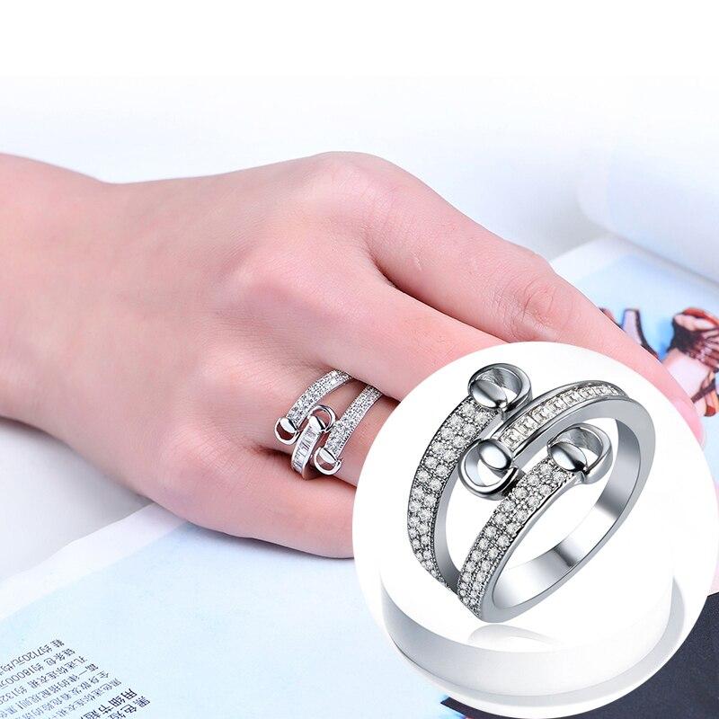SHUANGR fashion Sliver color cross shape 16mm*14mm/ 17mm*14mm/ 18mm*14mm/ 19mm*14mm Female Party Finger party Rings Size 6-9