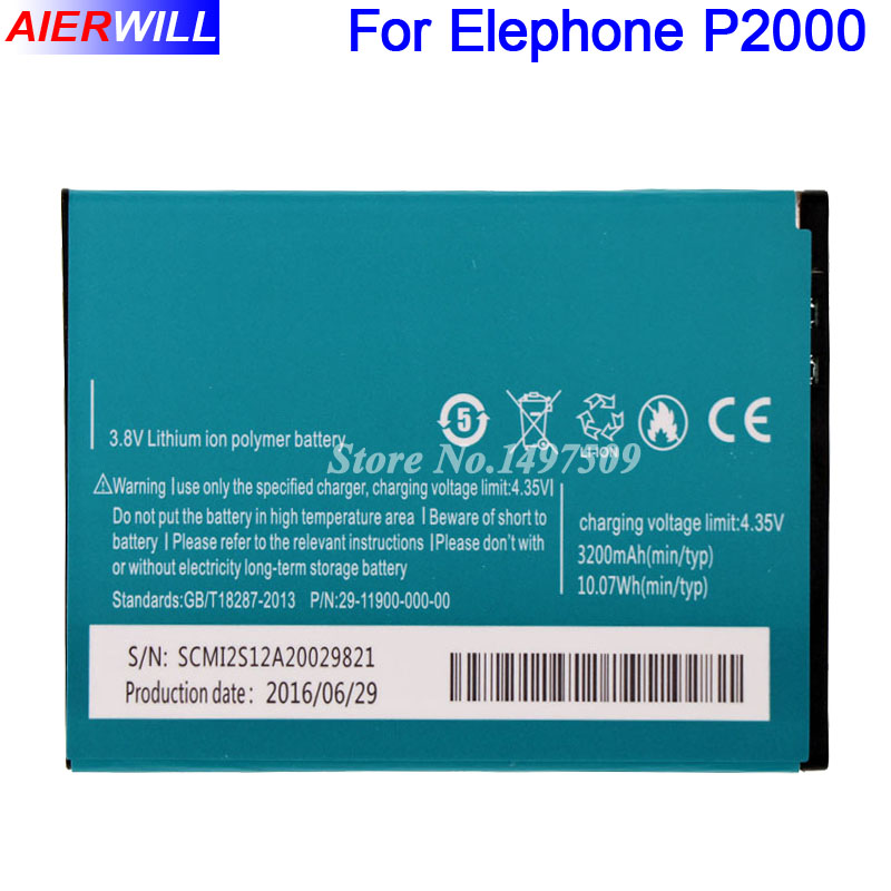 For Elephone P2000 Battery For Elephone P2000C Batterie Bateria AKKU 3200mAh ...