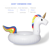 75/90/110/160cm Inflatable Unicorn Giant Pool Float Toys Swimming Ring 3