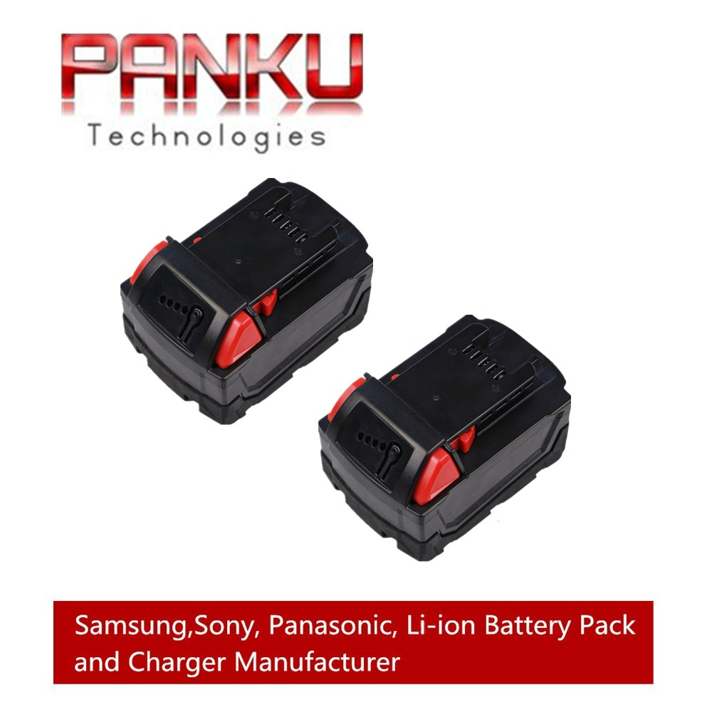 2 X PANKU 18V Lithium 4000mAh Replacement Rechargeable Power Tool Battery for Milwaukee M18 XC 48-11-1815 M18B2 M18B4 M18BX panku 14 4v 3 0ah replacement battery for bosch bat038 bat040 bat041 bat140 bat159 bat041 2607335534 35614 13614 3660k 3660ck