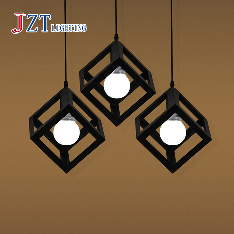 ФОТО Z American Country Square Restaurant Pendant Lamps Loft Iron Single Head / Three Heads LED Light For Bar And Livingroom Bedroom