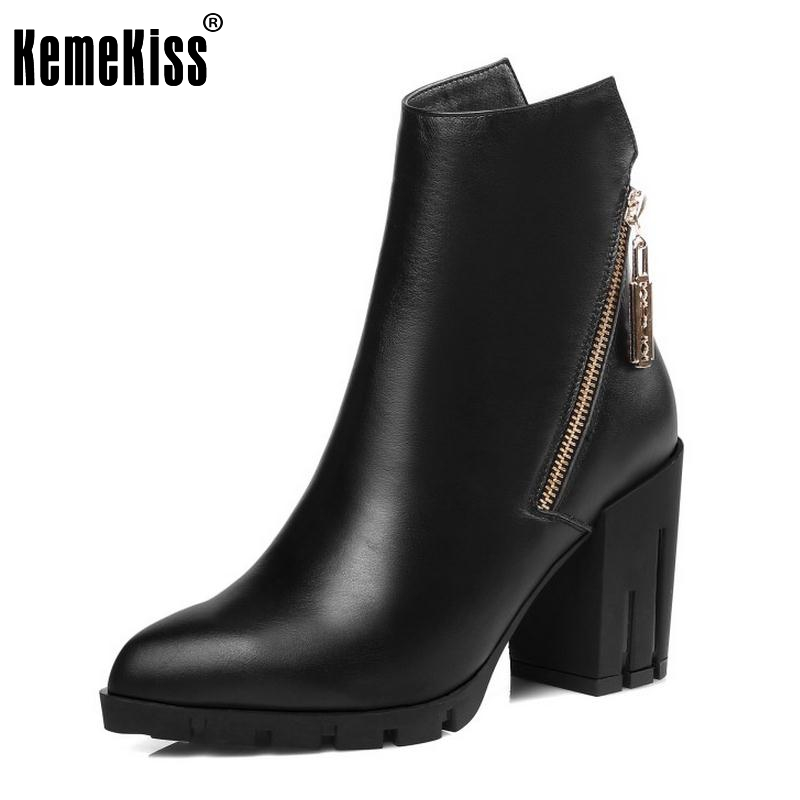 ФОТО Women Real Leather Boots Winter Plush Ankle Boots Ladies Sexy High Heel Fashion Pointed Toe Zipper Boots Women Shoes Size 34-39