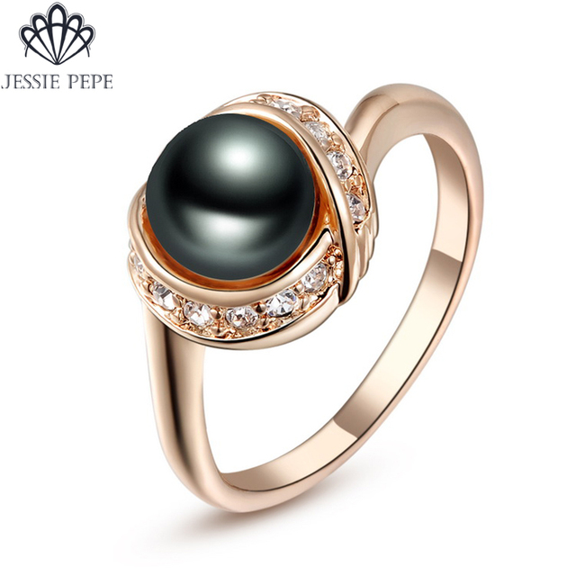 Jessie Pepe Italina Simulated Pearl Like Ring Anel Rose Gold Color Party Jewelry