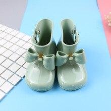 Fashion 4 Color Mini Melissa Big Bowrain Boots Children Boots Soft Rain Boots Jelly Shoes  Princess Boots 14.5-19.5cm