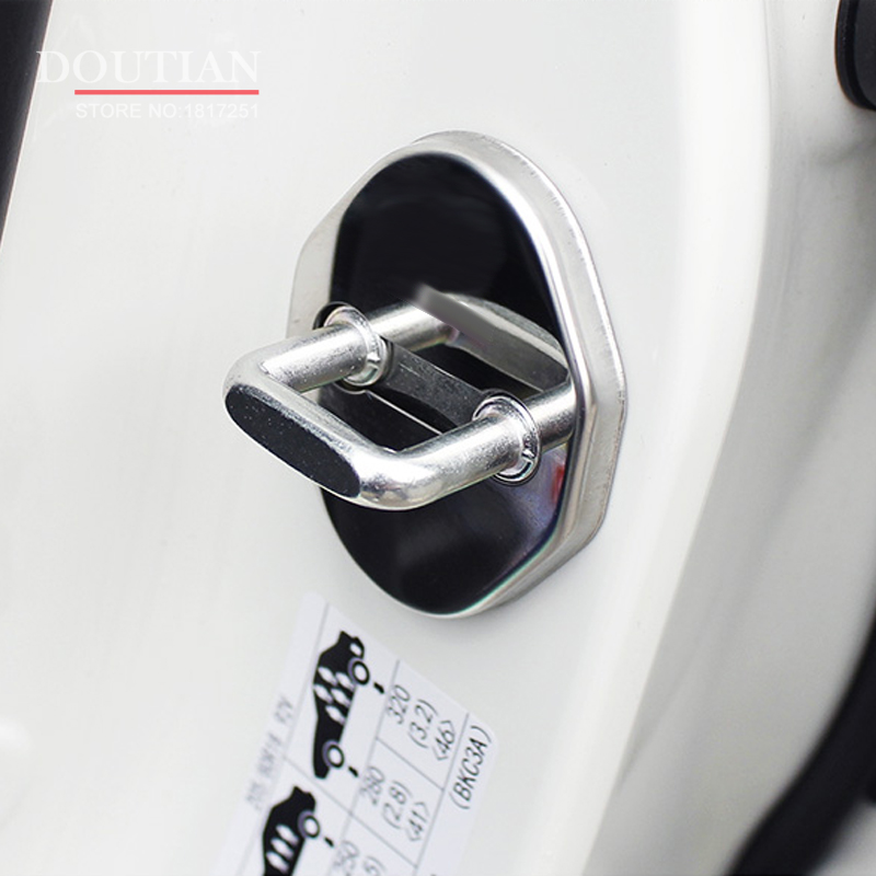 NEW 3D Stainless Steel Door Lock Buckle Protection Protective Cover trim 4pcs for Mazda CX-5 cx5 2012-2016 car Accessories for mazda cx 5 cx5 2017 2018 stainless steel car body scuff strip side door molding streamer cover trim car accessories 4pcs