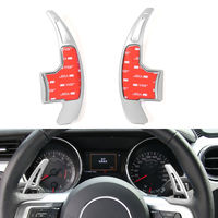 2PCS Auto Parts Silver Aluminum Steering Wheel Shift Paddle Shifter Extension Kit For Ford Mustang 2015 2016 2017