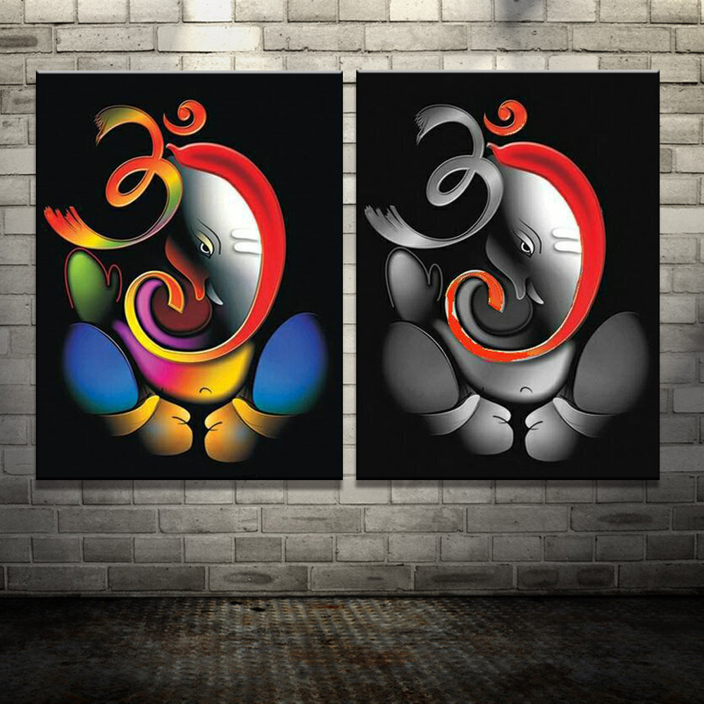 Us 24 18 38 Off 100 Hand Painted Om Ganesha Ganpati Oil Painting On Canvas Abstract Cartoon Oil Painting Wall Art Home Decoration Fine Picture In