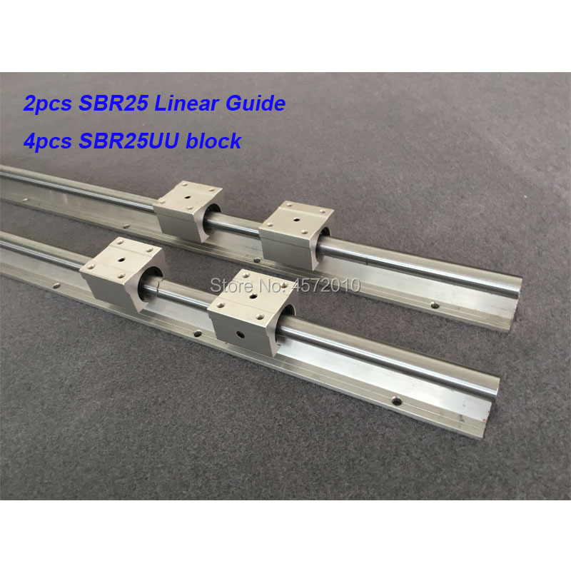 2pcs <font><b>SBR25</b></font> 25mm <font><b>linear</b></font> <font><b>rail</b></font> 400mm 450mm 500mm 550 600mm <font><b>linear</b></font> guide with 4pcs SBR25UU block cnc part image