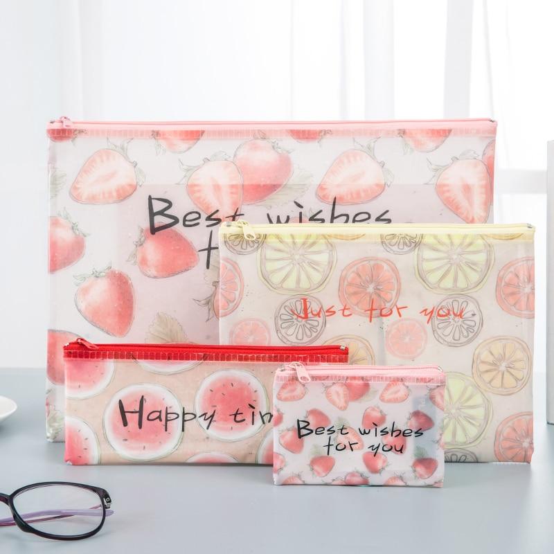 A4 A5 B6 MINI Transparent Zipper Cute File Bag Fruit Style Zippered File Bag Student Test Paper Folder Stationery Storage Bag