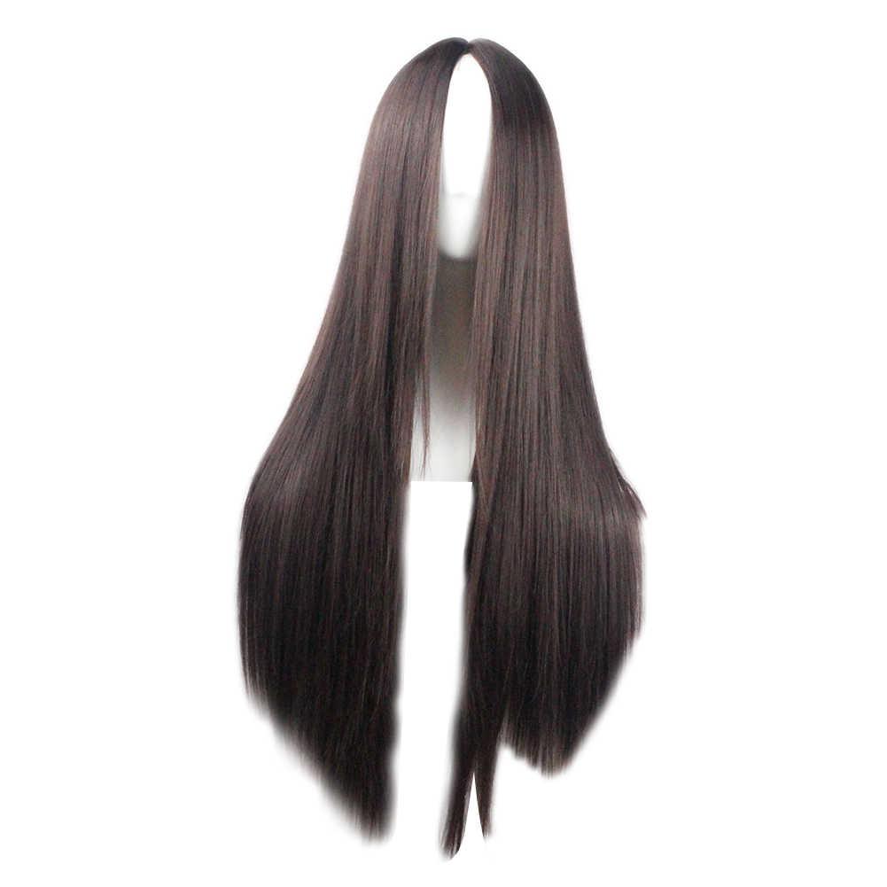 Модный женский однотонный парик с длинными прямыми волосами для косплейные накладные волосы