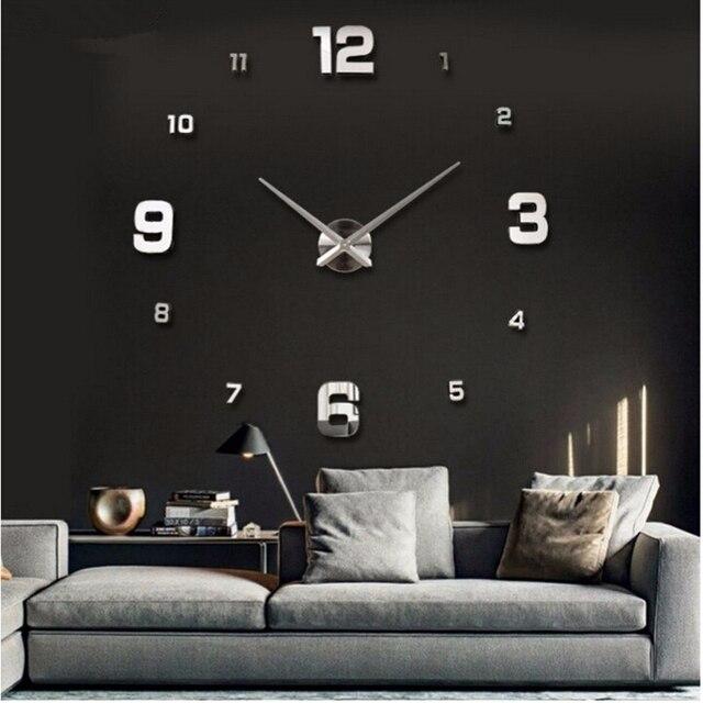 2019 new arrival 3d real big wall clock modern design rushed Quartz clocks fashion watches mirror sticker diy living room decor 2