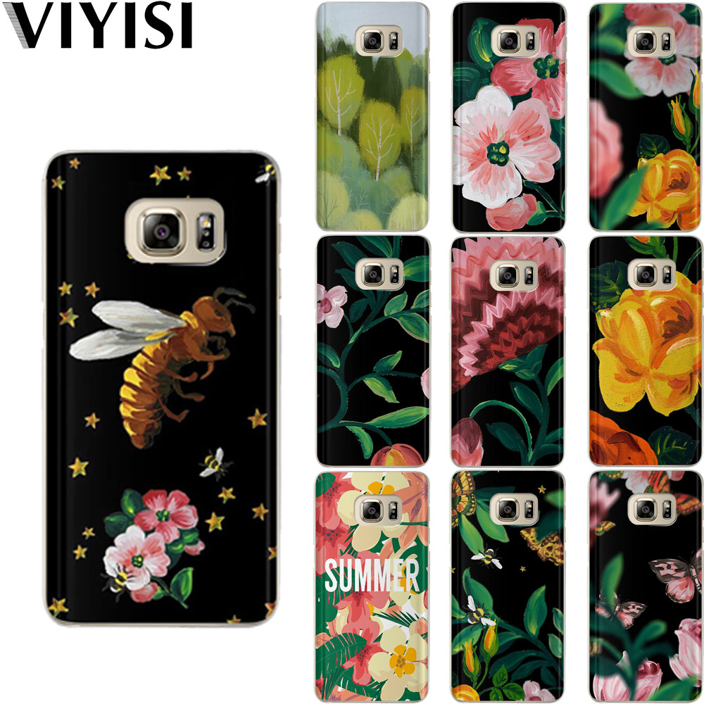 Flowers Fundas For Samsung Galaxy s8 Case S9 Plus <font><b>J7</b></font> J5 J3 2015 2016 S6 S7 Edge Coque Etui Capas Cell Bags <font><b>Capinha</b></font> Soft Silicone image