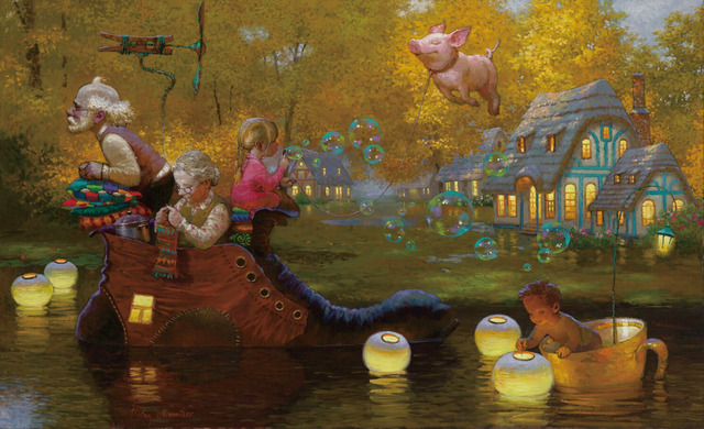 Free Shipping Victor Nizovtsev When Pigs Fly Home Wall Decor Prints Realistic Oil