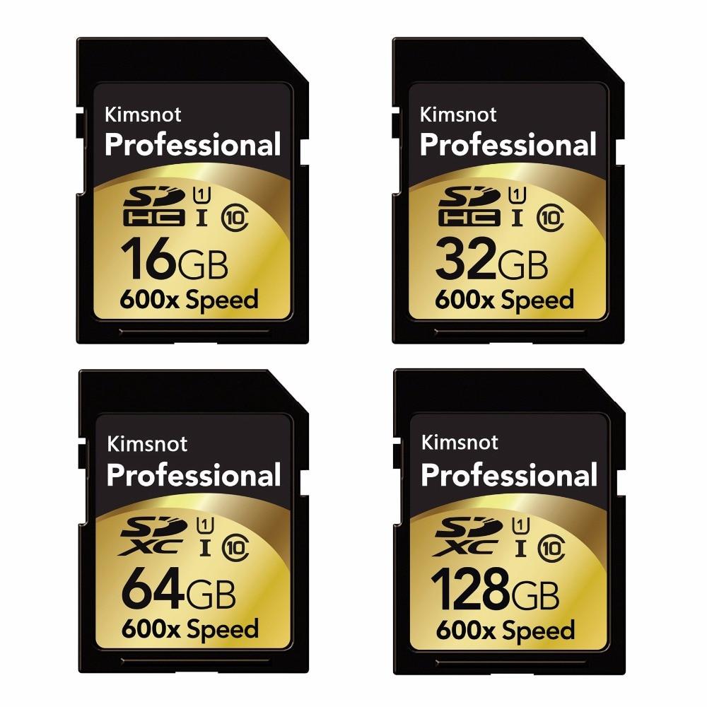 Cartão de memória kimsnão profissional, cartão sd de 90 mb/s 64 gb 128 gb 256 gb sdxc 16 gb 32 gb sdhc cartão de alta velocidade 600x para câmera nikon canon