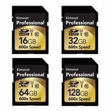 Cartão de memória kimsnão profissional, cartão sd de 90 mb/s 64gb 128gb 256gb sdxc 16gb 32gb sdhc cartão de alta velocidade 600x para câmera nikon canon
