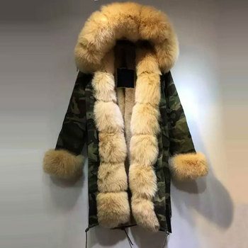 Camouflage jacket light Apricot fox fur hood with Apricot faux fur lining coat фото