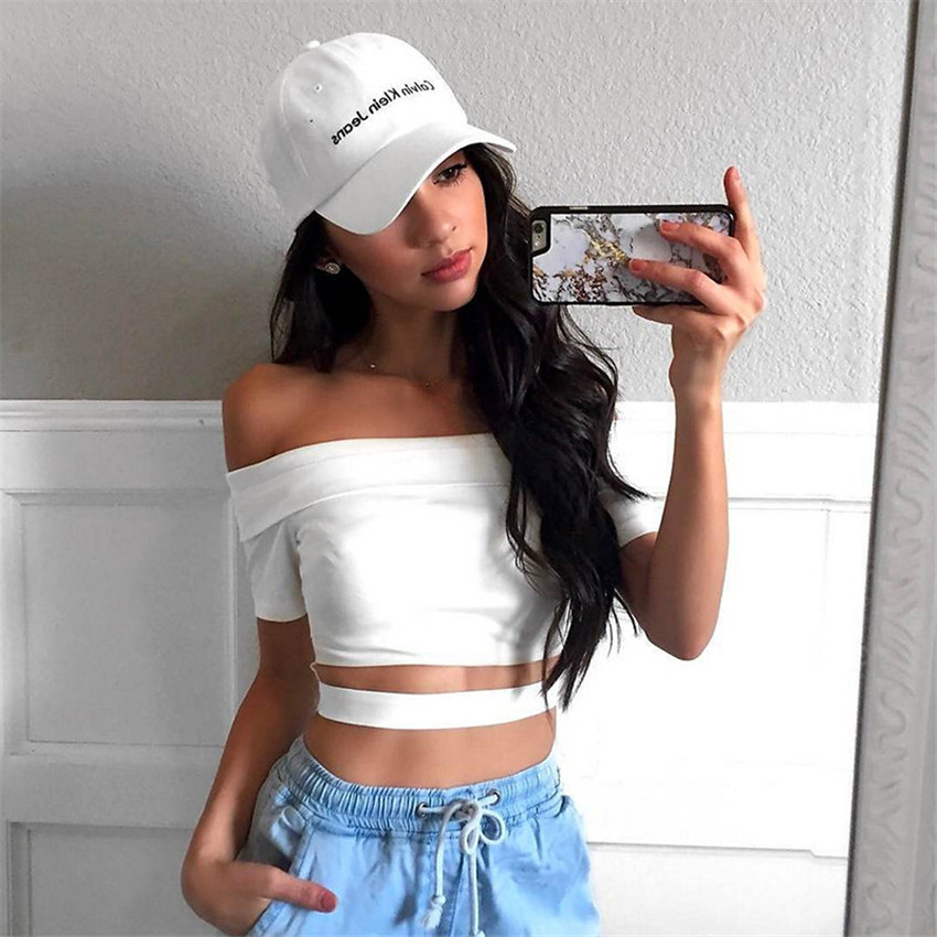 Sweet Off Shoulder Cute Crop Top Summer T shirt Female Clothes 2018 Short Sleeve Slim White