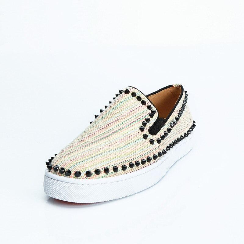 Homens Low Lona Slip Pista Sneakers Bege Spike Sapatos Hommes Eu39 Qianruiti Top Rebite on Chaussures Plana eu47 ffnr0xq