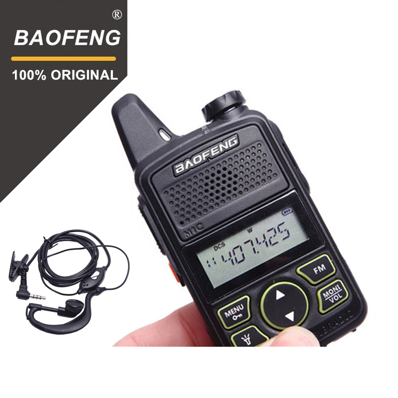 100% Original BAOFENG BF-T1 MINI Walkie Talkie UHF 400-470 mhz Tragbare T1 Zwei Weg Radio Ham Radio Amador micro USB Transceiver