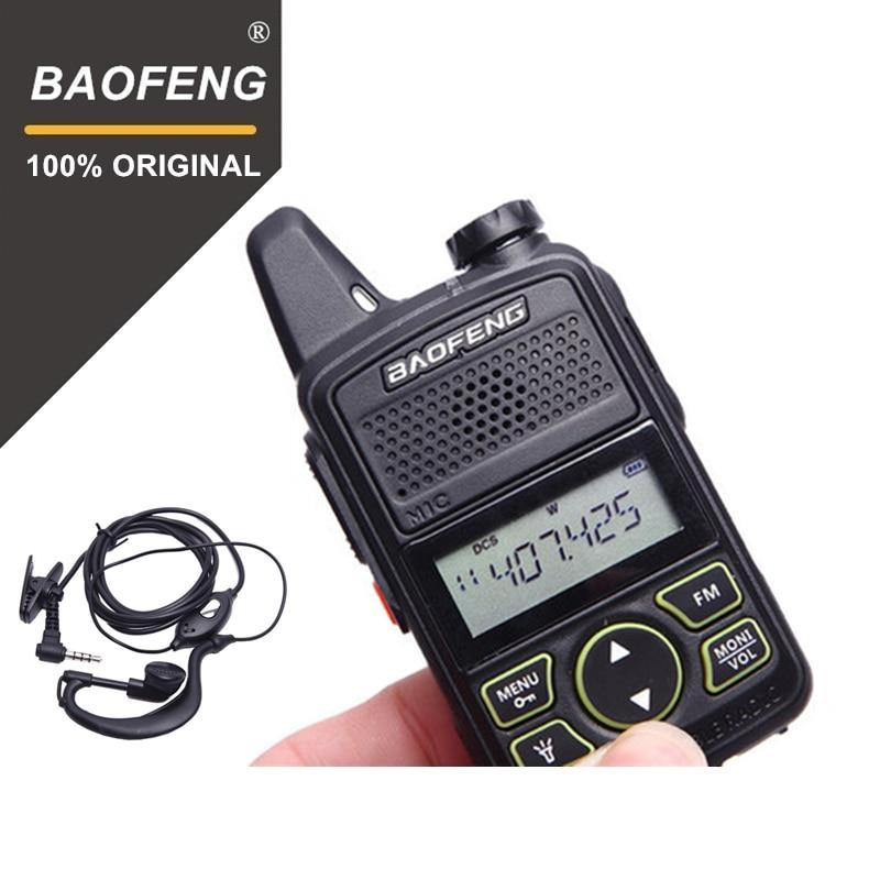 100% Originale BAOFENG BF-T1 MINI Walkie Talkie UHF 400-470 mhz Portatile T1 Two Way Radio Ham Radio Amador micro USB Ricetrasmettitore