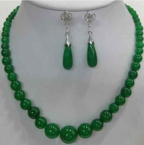 noble nature green Natural stone necklace earring jewelry set AAA . watch Quartz stone crystal FREE SHIPPING