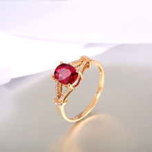 Fashion Engagement Rings for Women 18K Rose Gold Gemstone Jewelry Precious Ruby Ring Cluster Diamond Jewelry Rings