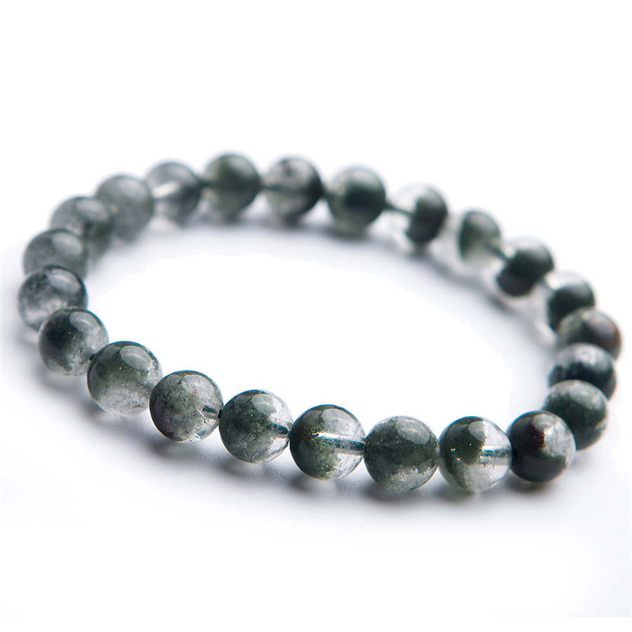 Cristal naturel Bracelet Vert Phantom Ghost Quartz Perles Rondes 8.5mm Livraison Gratuite Beaux Bijoux À La Mode Perlé Bracelet