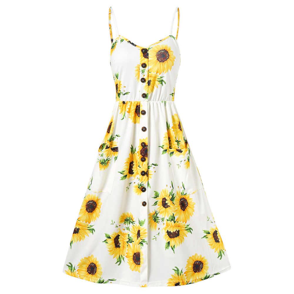 d9ecb4969855 Kenancy Boho Floral Print Summer Dress Women V Neck Pockets Sleeveless Midi  Dresses Female Sunflower Backless