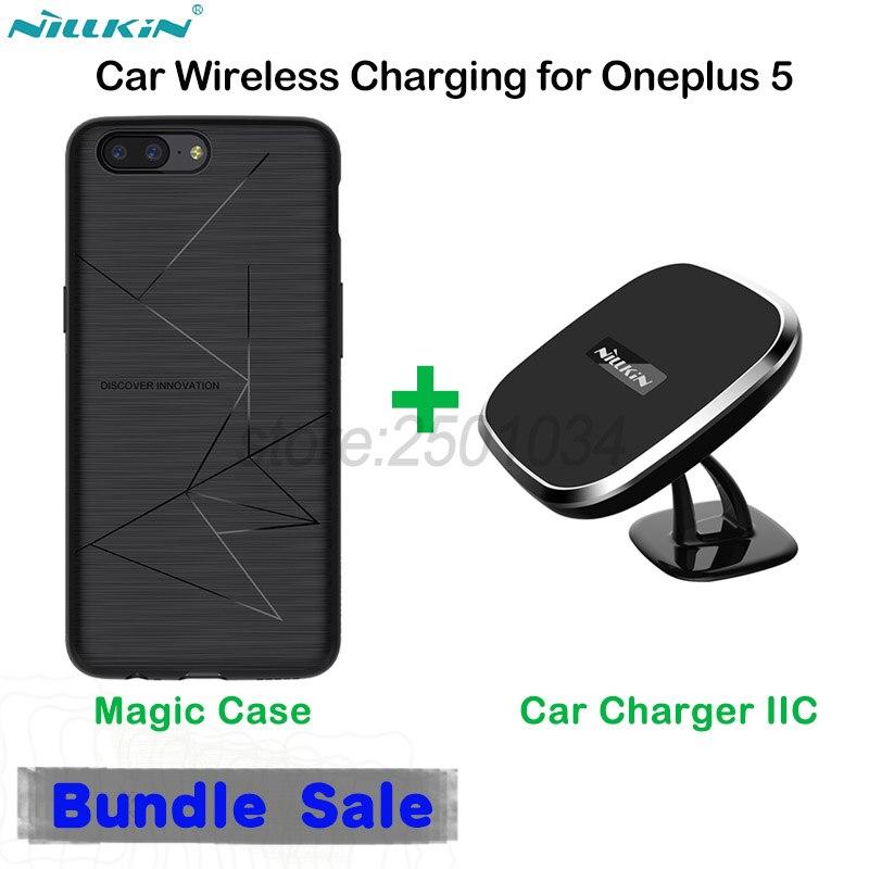 NILLKIN Chargeur Sans Fil Magnétique Collant Support Voiture-Chargeur Voiture support de bureau + Sans Fil boîtier chargeur de récepteur pour Oneplus 5