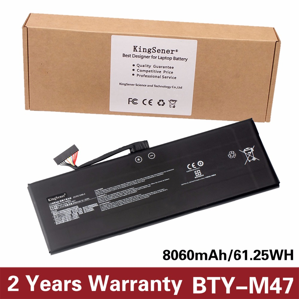 KingSener New BTY-M47 Laptop Battery for MSI GS40 GS43 GS43VR 6RE GS40 6QE 2ICP5/73/95-2 7.6V 8060mAh/61.25WH 2 Years Warranty kingsener new as16b5j laptop battery for acer aspire e5 575g 53vg 3icr19 662 2 as16b8j free 2 years warranty