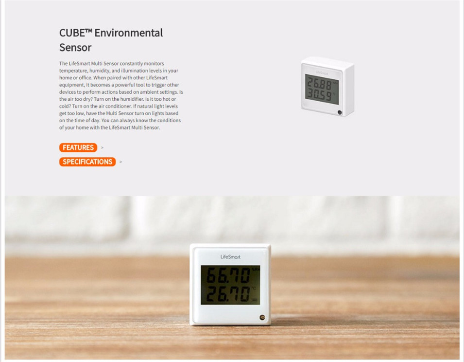 1 --- Lifesmart Multifunctional Environment Sensor 433MHZ Monitor Indoor Temperature, Humidity App Realtime View Remote Control by APP
