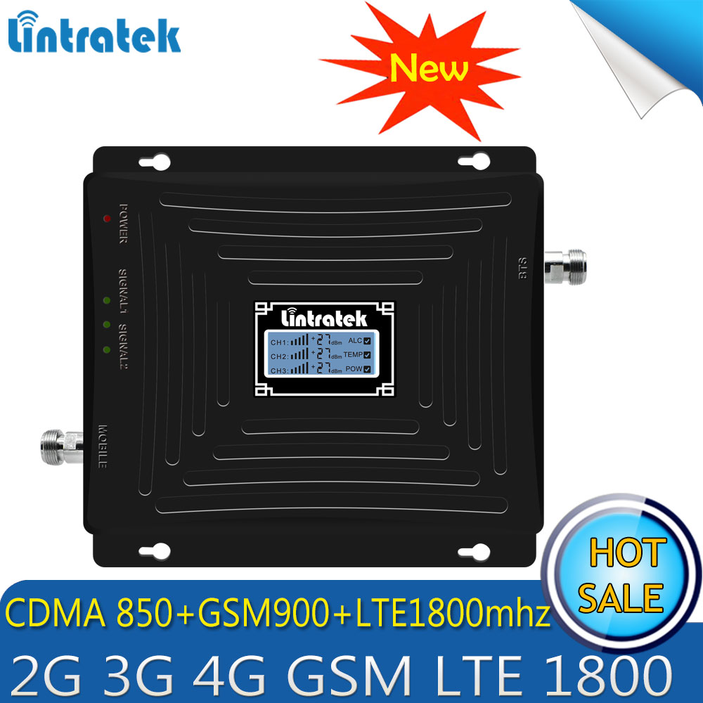 Lintratek Repetidor 2g 3g 4g Tri Band Signal Booster 850/900/1800 mhz CDMA GSM DCS LTE 4g Handy Cellular Signal Repeater
