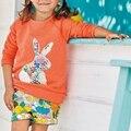 Moda Traje de Ropa Niños Niñas Establece Manga Larga Conejo Lindo Camisetas con Corta Pantalones de La Flor 2 unids Ropa de Las Muchachas conjunto