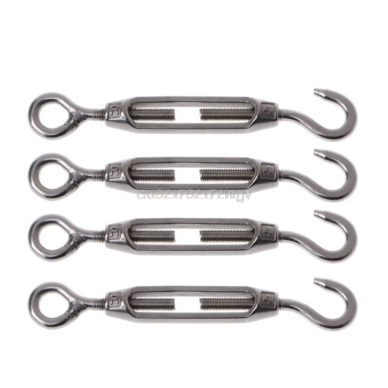 4PCS 304 Stainless Steel M4 Hook & Eye <font><b>Turnbuckle</b></font> Light Duty Wire Rope Tension D22 dropship image