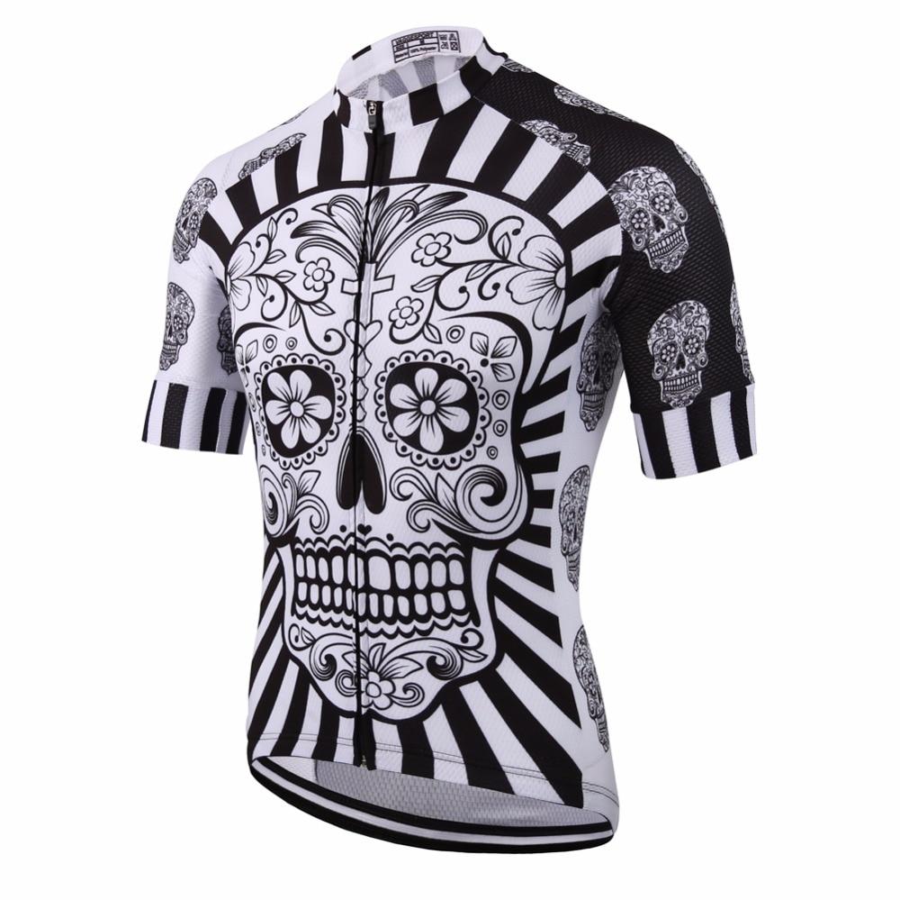 Weiß Schädel Sublimation Druck Radfahren Jersey Beste 2019 Pro Polyester Bike Tragen Sommer Männer Quick Dry Radfahren Top Fahrrad Shirt