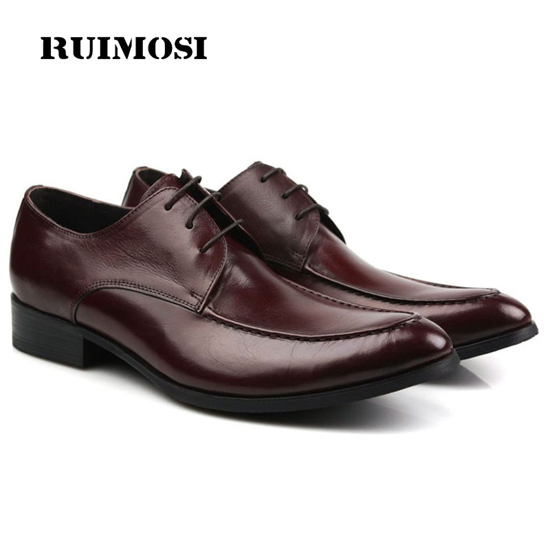 RUIMOSI Round Toe Formal Man Dress Shoes Genuine Leather Male Oxfords Luxury Brand Flats Men's Wedding Bridal Footwear LF84