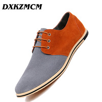 DXKZMCM Handmade Men Leather Shoes Brand Casual Cow Suede Comfortable Formal Dress Shoes Men Flats